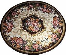 Continental Nachttisch Teppich Schlafzimmer Teppich Pad Maschinenwaschbar Make-up Hocker, rund, rund Teppich 90× 90ccm schwarz