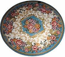 Continental Nachttisch Teppich Schlafzimmer Teppich Pad Maschinenwaschbar Make-up Hocker, rund, rund Teppich 90× 90ccm blau