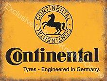 Continental reifen Gelb zeichen, schwarz pferd logo. Deutsche Reifen Für auto, motoren, Zyklen. Für haus, heim, garage, fahrrad laden, mann höhle, schuppen oder kneipe Metall/Stahl Wandschild - 30 x 40 cm
