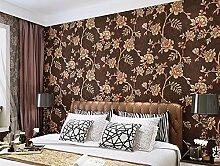 Continental Tapete Wohnzimmer Tv Hintergrund Wandtapeten Schlafzimmer Non-Woven Stoffen Wallpaper Wallpaper 0,53 m * 10 m, Kastanienbraun