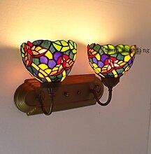 Continental Tiffany-Lampen Schlafzimmer Nachttischlampe aus Schmiedeeisen Double Wall Parlor Bar minimalistische Wandleuchte aisle