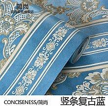 Continental Vlies Tapete 3D Damaskus bars Schlafzimmer Wohnzimmer mit Fliesen- Hintergrundpapier,TV Wand bars retro Blau