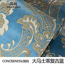 Continental Vlies Tapete 3D Damaskus bars Schlafzimmer Wohnzimmer mit Fliesen- Hintergrund,TV Wand Papier Damaskus retro Blau