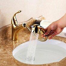 Continental Waschbecken Armaturen Waschbecken mit warmen Gold Hahn der Duschkopf vergoldete Kupfer Armaturen