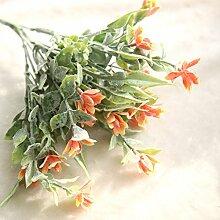coobl Seidenblumen Kunstblumen künstliche Orchidee Hochzeit Bouquet DIY Pflanze Home Decor (6Stück), Orange, Orange