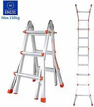 Coocheer Aluleiter Teleskopleiter Multifunktionsleiter verwendbar als Anlege- und Schiebeleiter, beidseitige Steh- und Treppenleiter, max. Belastbarkeit 150kg (3-Stufen-Leiter)