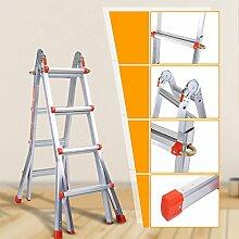 Coocheer Aluleiter Teleskopleiter Multifunktionsleiter verwendbar als Anlege- und Schiebeleiter, beidseitige Steh- und Treppenleiter, max. Belastbarkeit 150kg (4-Stufen-Leiter)
