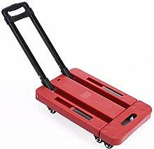 Coocheer Sackkarre Handwagen Treppensackkarre Stapelkarre mit 6 Räder bis 200 kg Tragkraft (Rot)