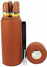 Coogel Leather Travel Cigar Humidor Brown Cedar