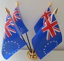 Cook Inseln Flagge 4Desktop Tisch mit Gold Boden