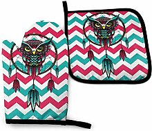 Cooking Mitts Set,Owl Dream Cather Blau Rot