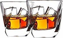 Cooko Whisky Gläser, Luxus Kristall Gläser Set, Non-Leaded Clarity Whiskyglas, Wein Zubehör,Set von 2 Gläser für Wein, Cocktails oder Saft (250ml/8.8oz)