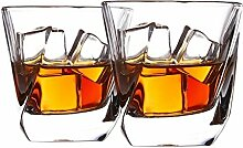 Cooko Whisky Gläser, Luxus Kristall Gläser Set, Non-Leaded Carity Gläser, Wein Zubehör Set von 2 Gläser für Wein, Cocktails oder Saft (250ml/8.8oz)