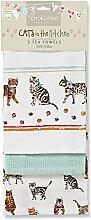 Cooksmart Cats on Parade Geschirrtücher mit Katzen - Motiv, Mehrfarbig, 3 Stück