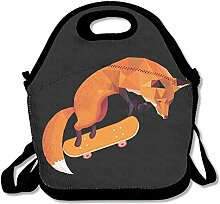 Cool Fox Play Skateboard Lunch Bag Tote Handbag