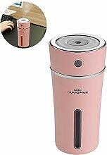 Cool Mist Luftbefeuchter, handingsm Cup 300ml Ultraschall-Luftbefeuchter mit LED Nacht Licht, 8Stunden Abschaltautomatik für Home, Yoga, Büro, SPA, Schlafzimmer, Baby Raum Battery-pink