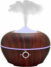 Cool Mist Ultraschall Luftbefeuchter, TJUAN Holzmaserung Aromadiffusor, mit 7 Farbe LED-Licht, Wasserlose Autoabschaltung, Einstellbare Nebel-Modus, 300ml, Braun (Braun)