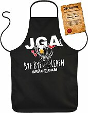 Coole Bräutigam Schürze Junggesellenabschied Kochschürze Hochzeit : JGA Tour Bye Bye …Leben Bräutigam -- Partzyschürze Junggesellen mit Urkunde