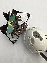 coole Katze mit Brille Teelichthalter Gartendekoration Keramik/Metall witzig