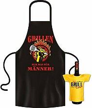 Coole Koch - Grillschürze mit Gratis Minishirt als Geschenk - Grillen Nur was für Männer