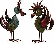 Coole Metall Vögel 2 Stück Gartendeko stehend Höhe 35+36 cm