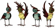 Coole Metall Vögel 4 Stück Gartendeko stehend Höhe 22-24 cm fluoresz.