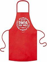 coole witzige Fun-Grill-Koch-Schürze Motiv Bester Papa der Welt ideal auch als Geschenk für Herren Männer Vatertag Farbe ro
