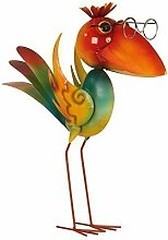 Cooler Metall Vogel Gartendeko stehend Höhe 43 cm