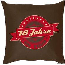 cooler Print - zum 18 Geburtstag zur Volljährigkeit Geschenke Idee - Kissen mit Innenkissen - 18 Jahre on tour 40x40cm braun : )
