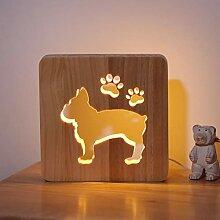 CooPark LED Hund Pfote Holz Nachtlicht, Home Decor