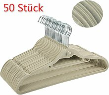 Coorun 50 Stück Samt Kleiderbügel mit rutschfeste Oberfläche dünn, Beige