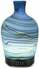 COOSA 100ML ätherisches Diffusor Glas Muster mit 4 Zeit-Einstellung und 7 schöne Farbe ändern LED Lichter Cool Mist Luftbefeuchter für Hause Büro Schlafzimmer Wohnzimmer