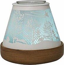 COOSA aroma diffuser,Mehrfarbig duftlampe elektrisch, Wald-Muster Luftbefeuchter , Aromatherapie Diffusor mit der Light Funktion (weiß)