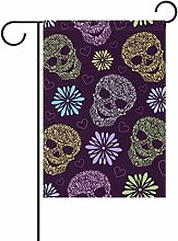 coosun Abstract Floral Skulls Muster Polyester