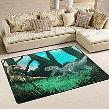 COOSUN Alte Dinosaurier Teppich Rutschfest für