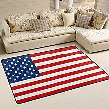 COOSUN Amerikanische Flagge Teppich Rutschfest