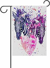 COOSUN Aquarell Liebe Zebra Polyester Garten