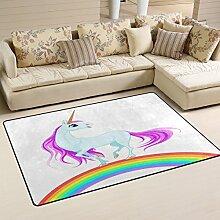 coosun blau Einhorn auf Regenbogen Bereich Teppich