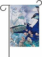 COOSUN Blue Peacocks auf Blumenhintergrund