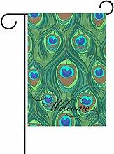 COOSUN Bunte Pfauenfeder Muster Polyester Garten
