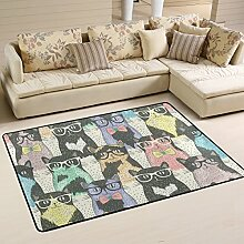 COOSUN Cats With Glasses Pattern Area Rug Carpet