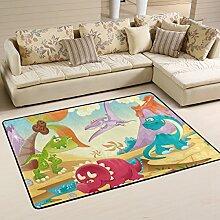COOSUN Dinosaurier Teppich Rutschfest für