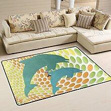 COOSUN Dolphin Spaß Teppich Rutschfest für