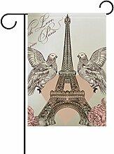 COOSUN Eiffelturm Polyester Garten Flagge im