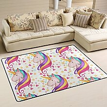 COOSUN Einhorn Teppich rutschfest für Wohnzimmer