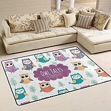 COOSUN Eulen-Muster Teppich rutschfest für