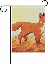 COOSUN Fox Malerei Polyester Garten Flagge im