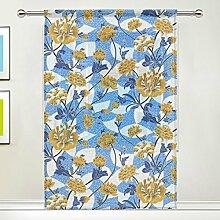 COOSUN Gelb Floral Schiere Vorhang Panels Tüll