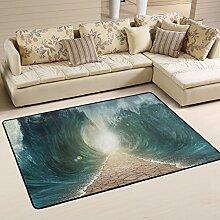 COOSUN Geteilte Meere Teppich rutschfest für