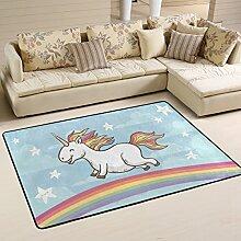 COOSUN Glückliches Einhorn auf Regenbogen Teppich